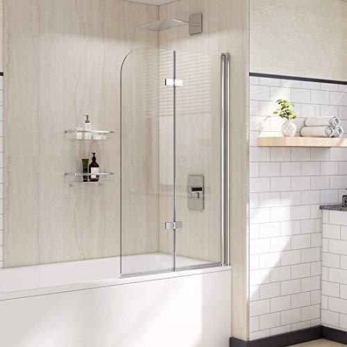WELMAX Badewannen Duschwand 120 x 140 cm Badewannenaufsatz Duschabtrennung Faltwand Duschtrennwand aus 6mm Nano ESG Sicherheitsglas