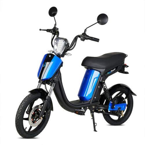 Virtuemart Bicicleta eléctrica Ecoxtrem E-Bike Miami 250w batería de Litio 48v 12Ah 25Km/h en Color Negra y Azul Sin Carnet Sin matricula