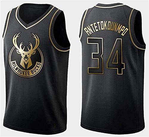 Bucks de los Hombres Camiseta de la NBA # 34 Giannis Antetokounmpo Respirable Fresco de la Tela de Las Estrellas Unisex Ventilador Uniforme (Color : B, Size : M)