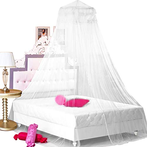 BCBYou Princess Bed Canopy Netting Mosquito Net Round Lace Dome for Twin Full and Queen Size Beds Crib with Jumbo Swag Hook (White)