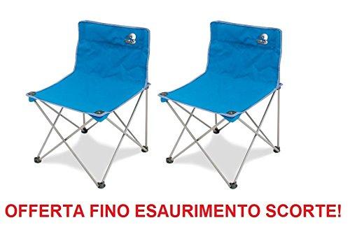 Fauteuil STORM pliable en fer avec tissu textilène bleu + poche pour le transport – Idéal pour camping – Offre 2 pièces.