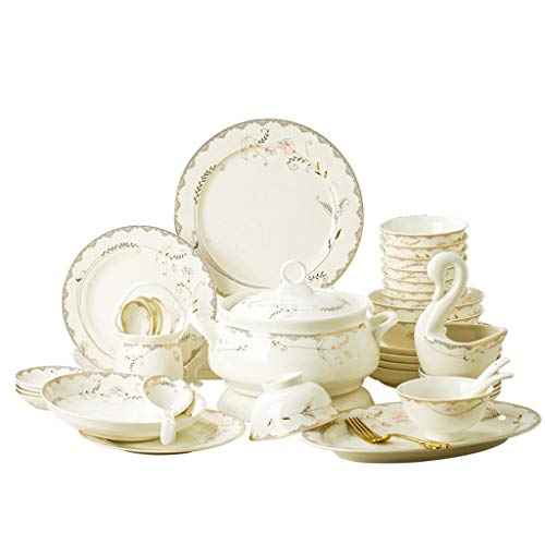 XYSQ 58 Pieces of Dishes Dinnerware Sets, Cereals & Soup Bowls, Ceramic Plates, Dishes, Serving for 10 People,Household Set Dishes Combination (Color : 60-Piece)