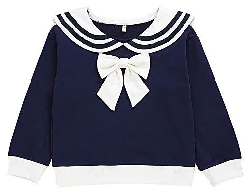 FAYFMA Camicia di Fondo delle Ragazze, Vestiti Primaverili e Autunnali, Cime, t-Shirt a Maniche Lunghe per Bambini, Stile Occidentale Bambina, Maglione di Risvolto, T-Shirt Royal blue-150cm.