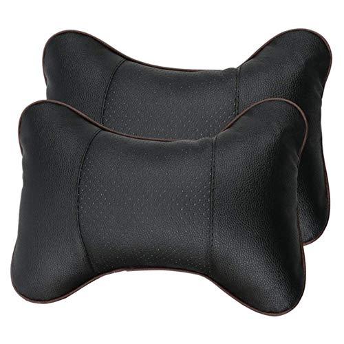OPAWDS Útil Cómodo Suave Cuero Transpirable Cuello Almohada Almohada Cabeza Cuello de Cuello Descanso Relajarse Cuello Soporte reposabezas Almohadas para Coche Combinación (Color : Black)