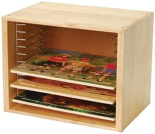 Constructive Playthings Natural Wood Puzzle Shelving with Metal