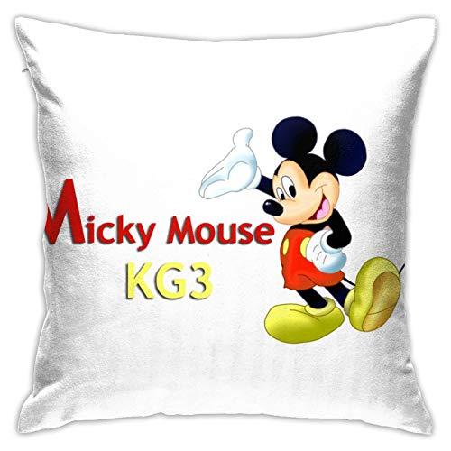 Mic-Key M-Ouse - Funda de cojín de poliéster suave con cremallera, decorativa, para dormitorio, sofá, jardín, 45,72 x 45,72 cm