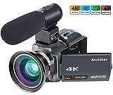 Ansteker Caméscope 4K Vision Nocturne Infrarouge Ultra HD 48MP WiFi Caméra Vidéo Numérique 1080P Full HD 16X Zoom avec...