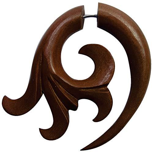 CHICNET Piercing falso dilatador para hombre y mujer, diseño de caracol en espiral, arco de madera de palisandro, color marrón rojizo con cierre de acero inoxidable