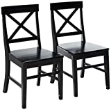 Christopher Knight Home Roshan Farmhouse Acacia Wood Dining Chairs, Black