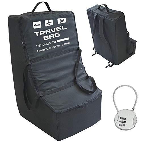 Hoogwaardige universele draagtas voor autostoelen, ideaal voor vliegtuigen, afmetingen voor het opbergen, eenvoudige identificatie op de luchthaven, bescherming gratis hangslot. Nieuw [085]