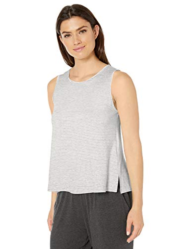 Amazon Essentials Women's Lightweight Lounge Terry Tank, Grey Heather Stripe, Medium