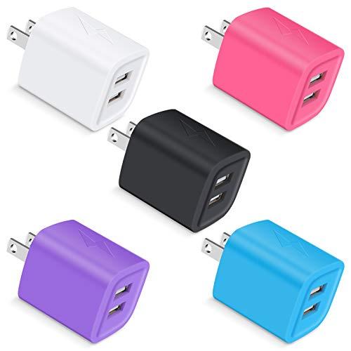 USB C Plug, Phone Charger Box, UorMe 5-Pack 2.1Amp Dual Port Home Travel USB Wall Quick Charging Block Cube Brick Compatible iPhone SE (2020) 11 Pro, XR, 8, 7, Se, 6s, iPad, Galaxy A21 S20 A01 A11,LG