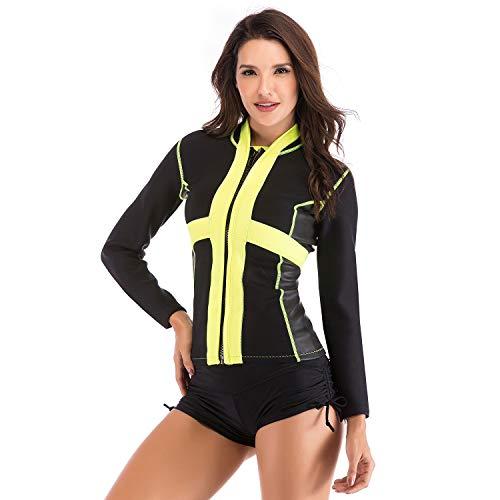 CHRRI Damen-taucheranzug, 2mm Gummi-Einteiler-Shirt, Langärmliger, Geteilter Badeanzug, Elastischer Weiblicher Quallenanzug, Surfanzug,XL