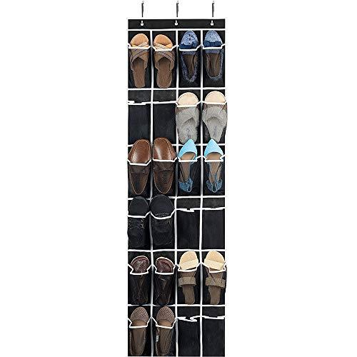 LANGYINH Über der Tür Shoe Organizer Faltbare Schuhaufbewahrungstasche mit 24 Netztaschen - Perfektes Schuhaufbewahrungssystem