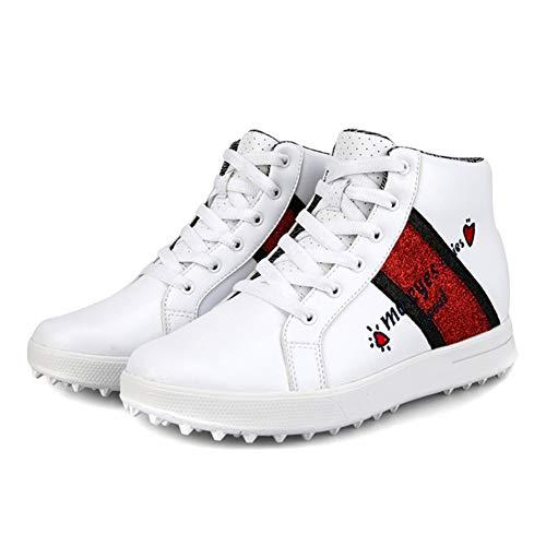 WOIQ Zapatos de Golf para Mujer Zapatos de Golf Transpirables Que Aumentan La Altura Interior de La Parte Superior Alta Zapatos de Golf Impermeables para Mujer