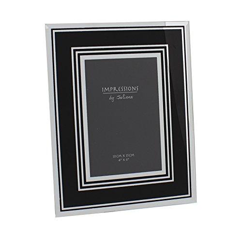 Impressions specchio cornice portafoto in vetro nero 10,2x 15,2cm