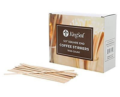 KingSeal Natural Birch Wood Coffee Stirrers, Stir Sticks, 5.5 Inch, Square End - 10 Packs of 1000 per Case (10,000 pcs total)