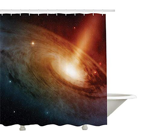 JoneAJ Sistema de Galaxia Espiral en Espacio Profundo Stardust Vista Desde Telescopio Imagen Cortina de Ducha Impresión 3D Tela de poliéster revestida Impermeable Baño de 12 Ganchos de 71 Pulgadas