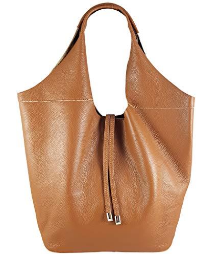 Freyday Echtleder Shopper mit Schmucktasche in vielen Farben Schultertasche Damen Henkeltasche (Cognac)