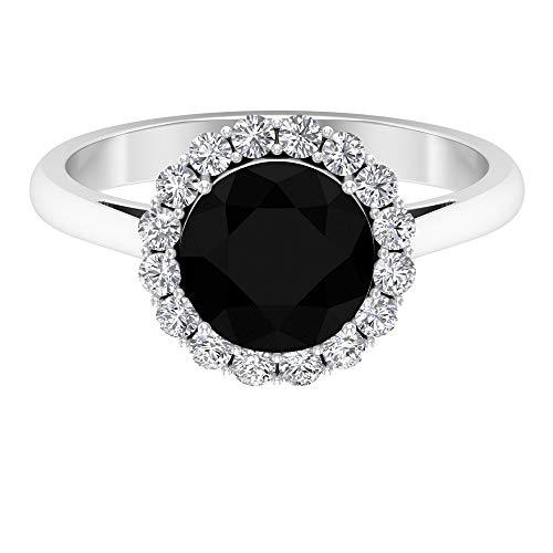Anillo de solitario minimalista, anillo de halo moissanite, anillos de promesa para ella 14K Oro blanco