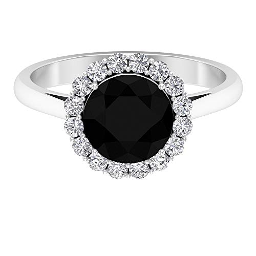 Solitaire Black Spinel Ring, D-VSSI Moissanite Halo Ring, 2.2 CT Gemstone Ring, Vintage Engagement Ring, Bridal Wedding Ring, 18K White Gold, Size:UK L