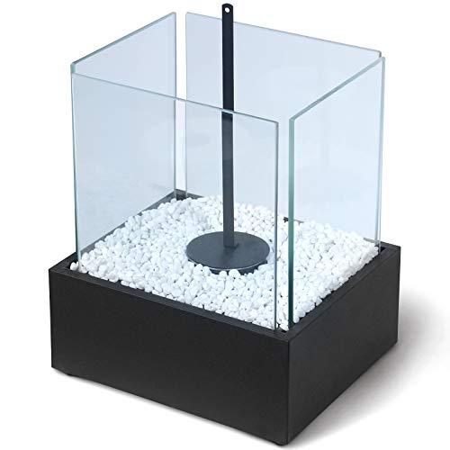Jago® Tischkamin - Edelstahl, Bio-ethanol, für den Innen- und Außenbereich, inkl. Steine, Schwarz - Feuerstelle, Glaskamin, Glasfeuer, Tischfeuer, Tisch-Dekofeuer