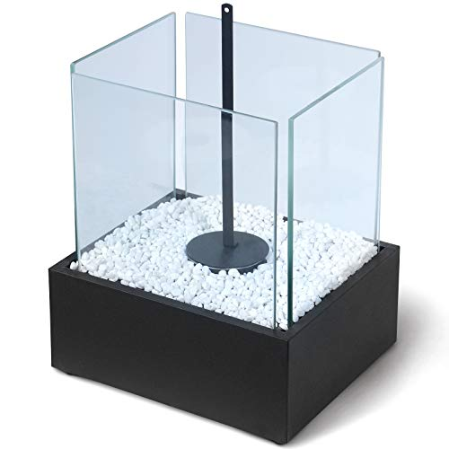 Caminetto da Tavolo - Portatile, 24.5x20.5x28 cm, Acciaio Inossidabile, 4 Pannelli di Vetro, con Pietre Decorative - Caminetto a Bioetanolo, da Pavimento, da Terra