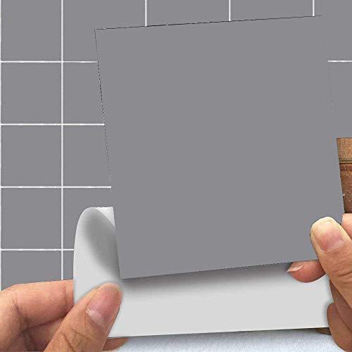 Abnaok - Lote de 25 pegatinas cuadradas para azulejos de cocina, baño, pegar y pegar en la pared, 10 x 10 cm, color gris
