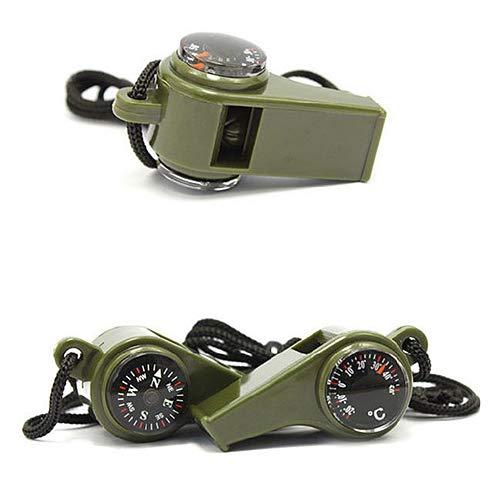 tyrrrdtrd Outdoor Kompass Survival Whistle, Camping Wandern Notfallausrüstung Werkzeug mit Thermometer, Mehrfarbig