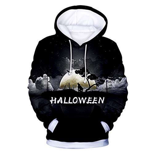 Buy Halloween Mens Women 3D Print Party Long Sleeve Hooded Sweatshirt Tops Black