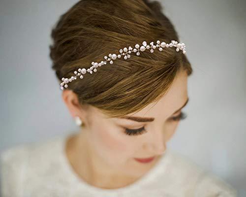 TOPQUEEN Gold Perle Strass Braut Haarkamm Hochzeit Haarschmuck Tiara Diadem, Schmetterlinge (HP03)