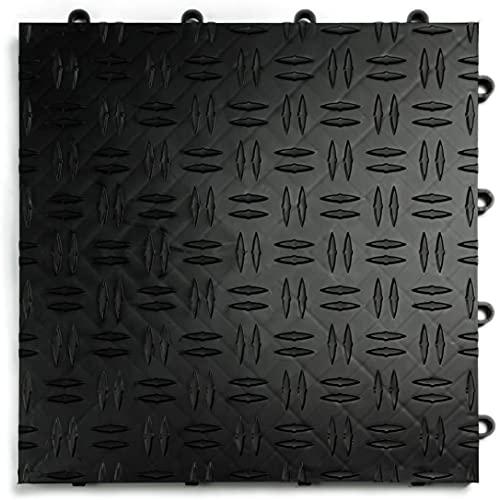 uyoyous 20 Stück PVC Garagenboden Ineinandergreifende - 40x40cm GaragenbodenbelagFliesen - RutschfesteStrapazierfähiges Garagenbodenfliesen - Einfach zu Verlegen - Diamantplatten Design(Schwarz)