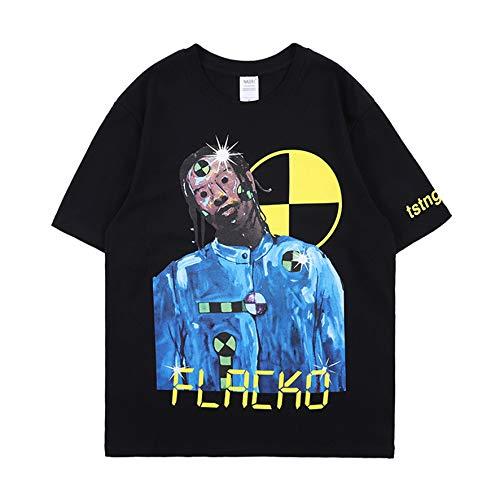 Hip Hop ASAP Rocky Shirts Rap Portrait T-Shirt for Men Women Black Tee