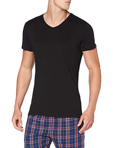 PUMA Mens Basic Men's V Neck T-Shirt Multipack Base Layer Top 2er Pack, Black/White, S
