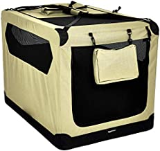 AmazonBasics Premium Folding Portable Soft Pet Dog Crate Carrier Kennel - 42 x 31 x 31 Inches, Khaki