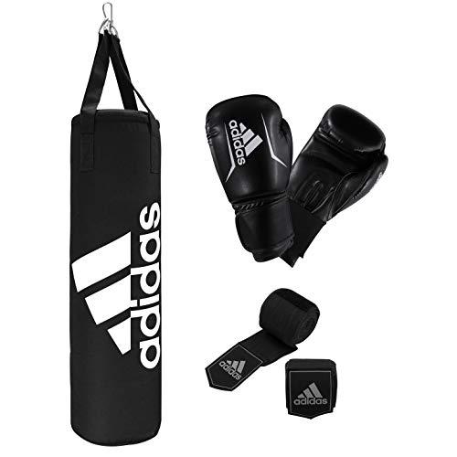 adidas Unisex– Erwachsene Boxing Bag Set Boxset, Schwarz/Weiß, 90 cm