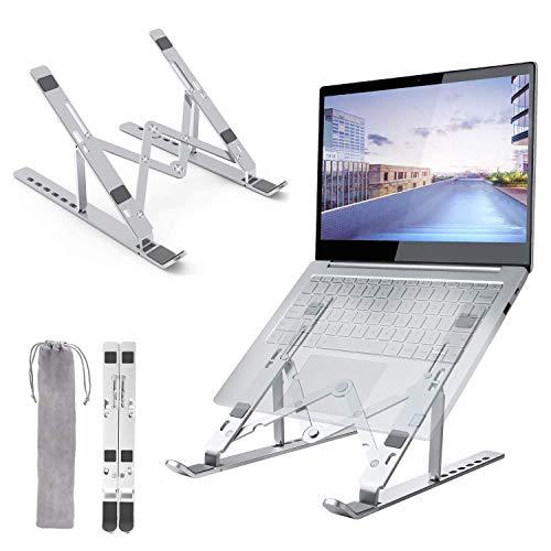ONEKU Supporto PC Portatile [Aggiornato] con Angolazione Regolabile Porta Notebook Laptop Stand Pieghevole in Alluminio Supporto per MacBook Air/PRO, dell, XPS, HP, Lenovo Portatili da 10-17'