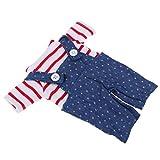 Fenteer Costume de Poupée 25cm, T-Shirt à Rayures et Pantalon Jouet pour Fille Garçon