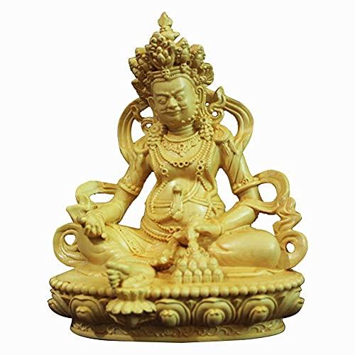 Dios de la Estatua de la Riqueza Estatuillas de Buda, Indian Tibetan Sculpture Prosperity Wealth Ornament, Decoración de la Oficina en el hogar, Boxwood de Hoja pequeña (Color : Small Leaf Boxwood)