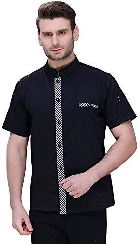 CHERPP Kochjacken Kochjacke Unisex Chef Kleidung Short Sleeve Coole Chef Jacke Uniform Küche Restaurant Stud Knöpfe, Halbarm, Unisex Schwarz