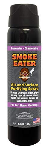 Smoke Eater - Breaks Down Smoke Odor at The Molecular Level - Eliminates Cigarette, Cigar or Pot Smoke On Clothes, in Cars, Homes, and Office - 3.5 oz Travel Spray Bottle (Lavender Chamomile AEROSOL)