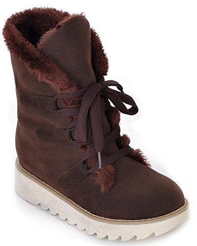 Minetom Mujer Otoño E Invierno Plano Botines Calentar Pelaje Botas De Nieve Atada Zapatos (EU 40, Caqui)