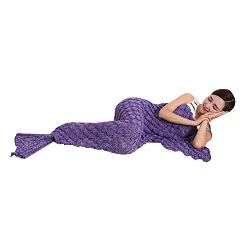 Feiuruhf Handmade Mermaid Tail Blanket Soft Sofa Blanket (purple)