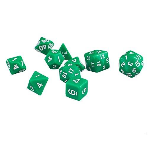 10pcs Dés Multi-faces Définies Jeux TRPG Dungeons Dragons D4-D30 Jouet Accessoire - Vert