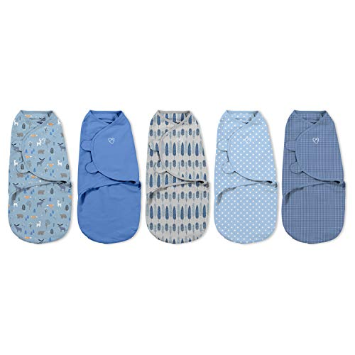 SwaddleMe Original Swaddle 5PK 100% Cotton Adjustable Baby Wrap Denim Woodland Small 03 Months 714 lbs up to 26quot