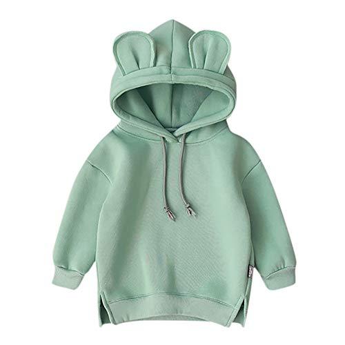 Huhu833 Baby Sweatshirts, Kleinkind Baby Kinder Jungen Mädchen Mit Kapuze Pullover Cartoon 3D Ohr Hoodie Sweatshirt Tops Kleidung (Grün, 6-12Monate)