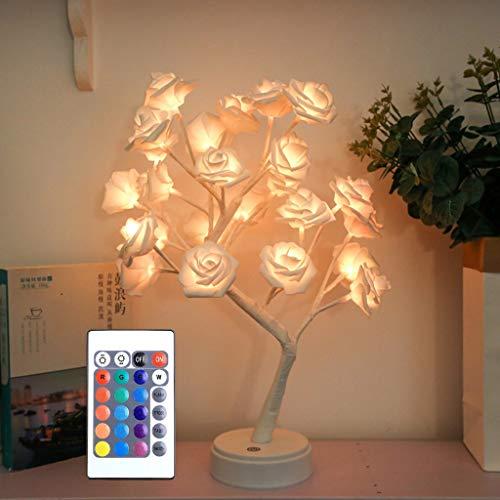 LED de Luz Artificial del Árbol de Los Bonsais, Funciona con Batería/USB, Luz de Hadas RGB DIY con Mando a Distancia, Lámpara de Mesa de Decoración del Hogar (Color : Rose)
