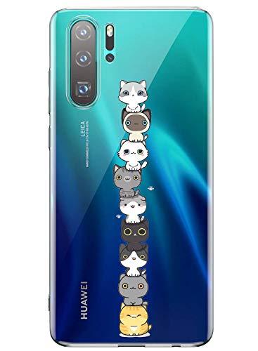 Oihxse Kompatibel mit Huawei P30 Clear Case, Soft TPU Bumper Schutzhülle Case Slim Shockproof Cute Cartoon Elefant Kaninchen Design Shell für Huawei P30, 1