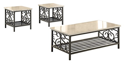 Homelegance Fairhope 3-Piece Faux Marble Occasional Table Set, White