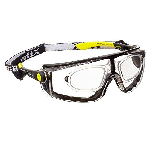 voltX 'QUAD' 4 in 1 - Occhiali di sicurezza da lettura con ingrandimento e lenti intere (+3,0 Diottrie, TRASPARENTI) - con inserto in gommapiuma e fascia rimovibile - certificazione CE EN166F